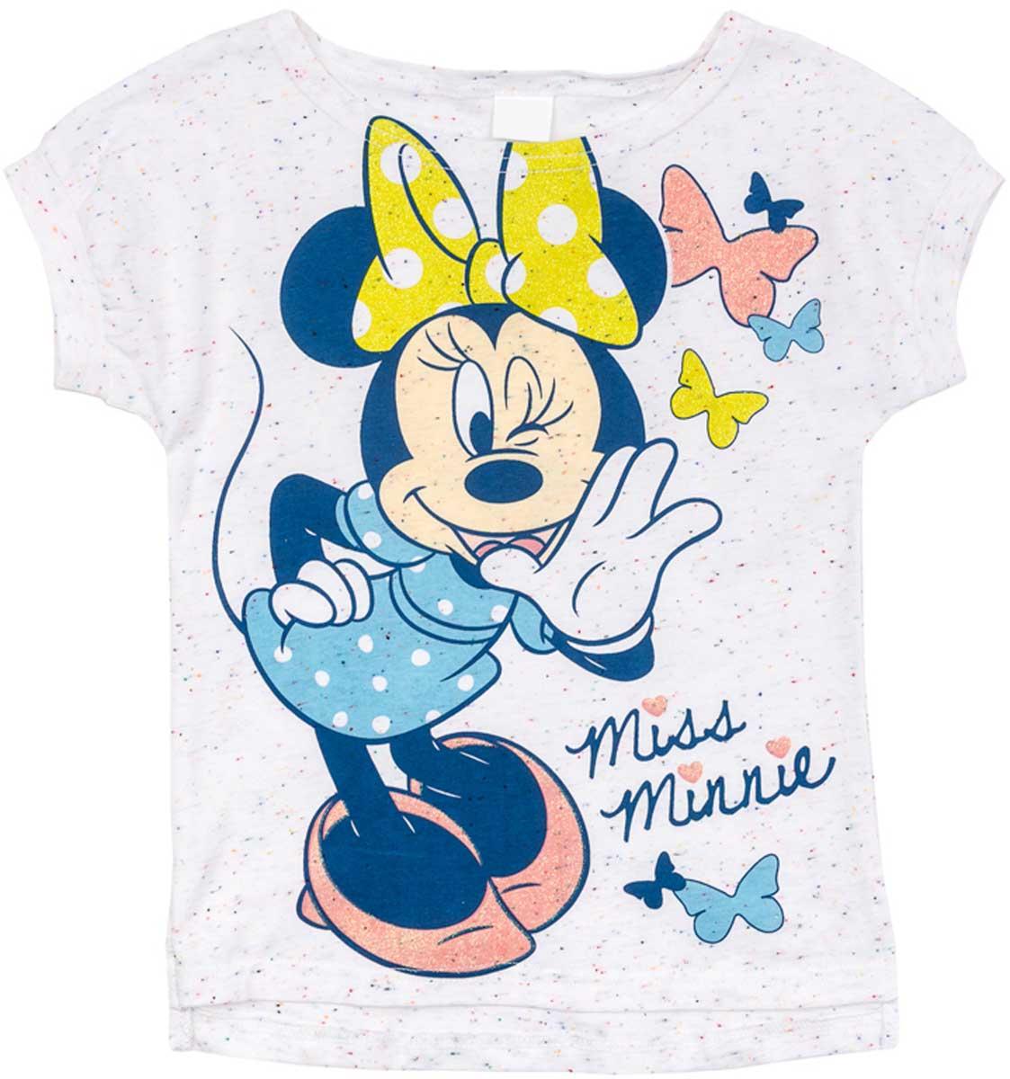 Футболка672103Футболка для девочки PlayToday свободного классического кроя прекрасно подойдет как для домашнего использования, так и для прогулок на свежем воздухе. Можно использовать в качестве базовой вещи повседневного гардероба вашего ребенка. Яркий стильный лицензированный принт Disney является достойным украшением данного изделия.