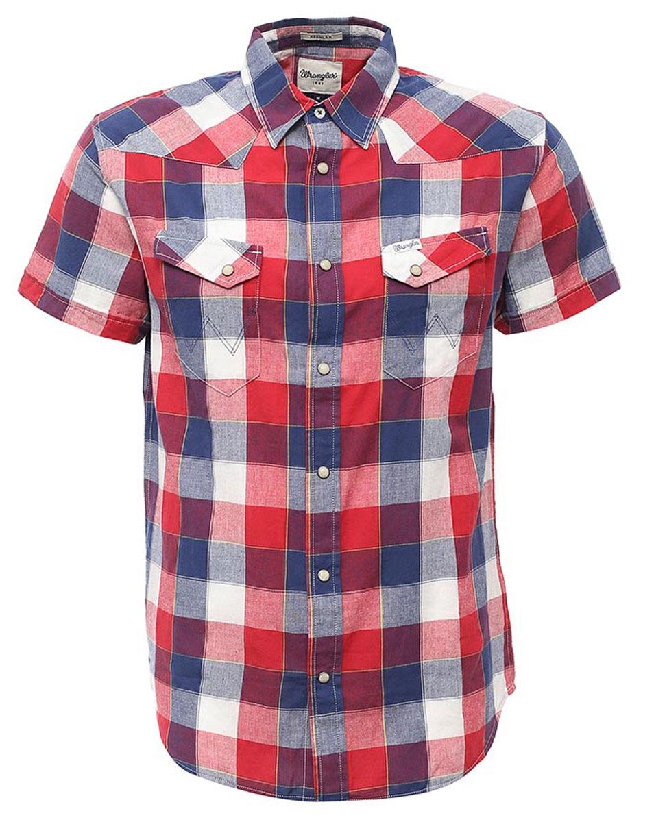 W5873CQIXМужская рубашка Wrangler Heritage Western изготовлена из натурального хлопка. Модель с короткими рукавами имеет на груди два накладных кармана под клапанами на кнопках. Рубашка застегивается на кнопки и верхнюю пуговицу. Низ модели закруглен.