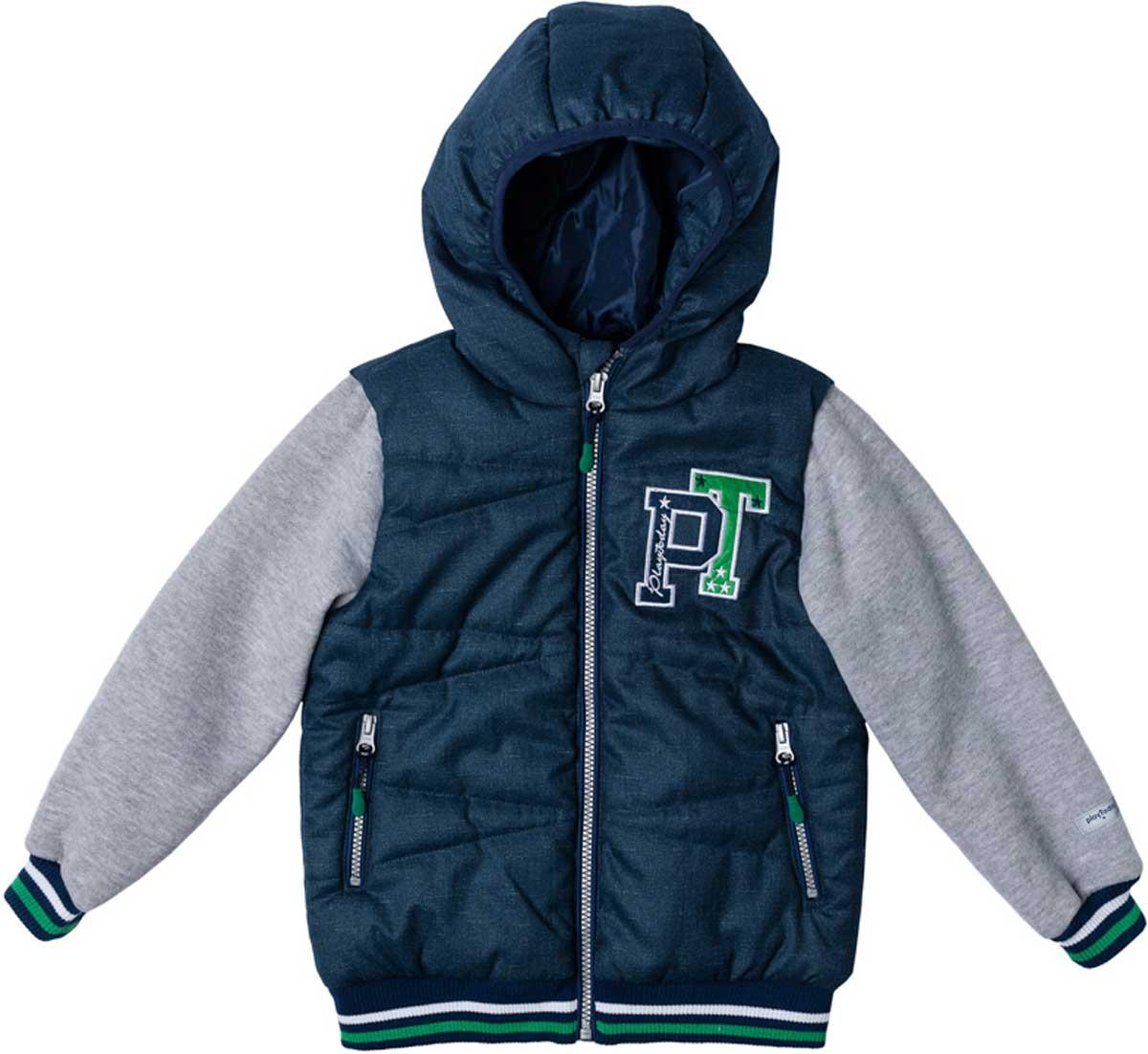 Куртка171002Эффектная утепленная куртка с капюшоном на молнии прекрасно подойдет вашему ребенку в прохладную погоду. Специальный карман для фиксации застежки-молнии не позволит застежке травмировать нежную кожу ребенка. Даже у самого активного ребенка капюшон не спадет с головы за счет удобной мягкой резинки. Наличие светоотражателя на подоле позволит видеть вашего ребенка в темное время суток. За счет рукавов из текстиля с начесом, такая куртка будет уместна и в прохладную погоду. Куртка украшена яркой аппликацией.