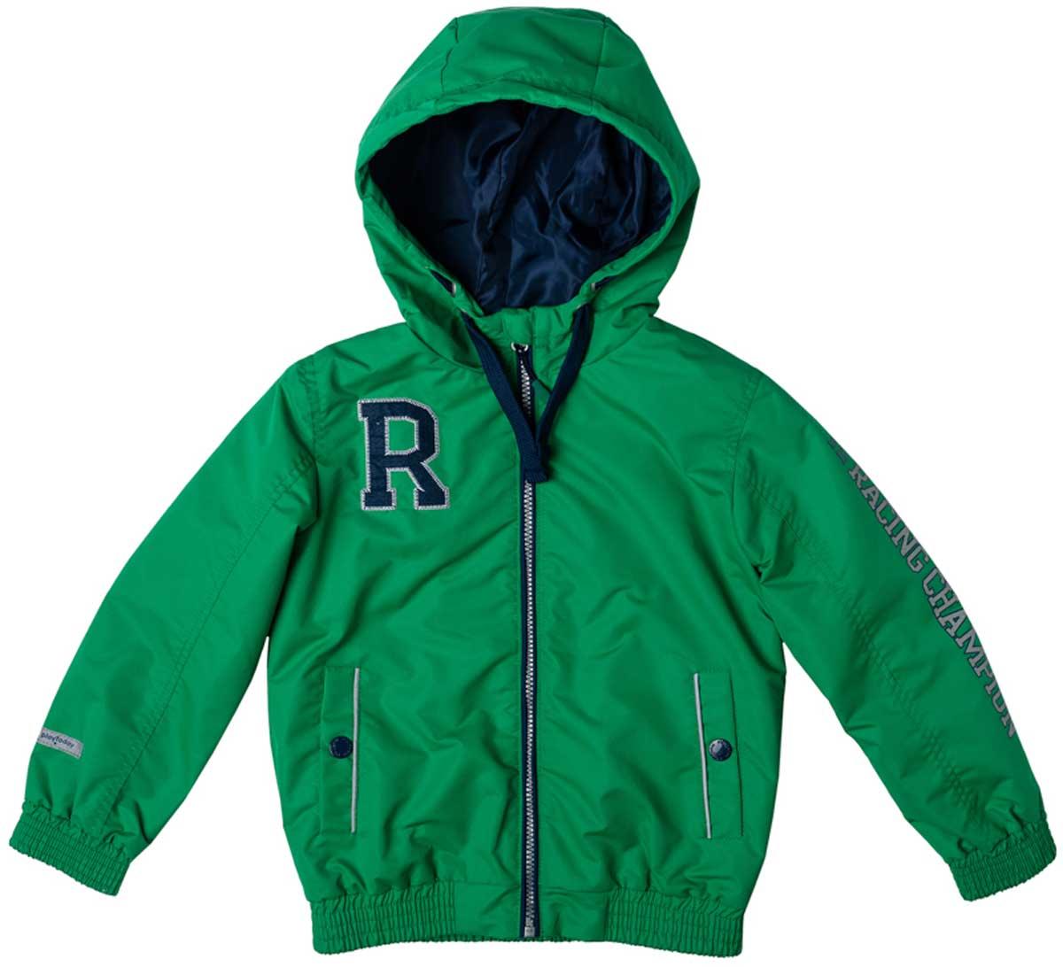 Куртка171003Яркая куртка из плотной водоотталкивающей ткани на теплой флисовой подкладке подойдет для дождливой ветреной погоды. Специальный карман для фиксации застежки-молнии не позволит застежке травмировать нежную кожу ребенка. Куртку украшают яркая аппликация и принт на рукаве. Прорезные карманы на застежках кнопках дополнены светоотражателями, Ваш ребенок будет виден в темное время суток. Капюшон можно отрегулировать шнуром - кулиской. Рукава на плотной удобной резинке не дадут замерзнуть.