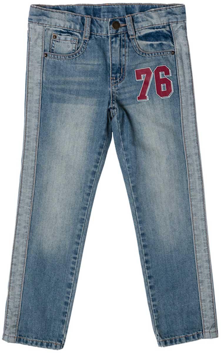 Джинсы171011Стильные эффектные джинсы с ярким принтом и эффектом потертости прекрасно подойдут для повседневной носки. Удобны для длительных прогулок на свежем воздухе. Модель снабжена пятью полноценными карманами. Пояс со шлевками, при необходимости можно использовать ремень. Джинсы застегиваются на скрытую застежку-молнию и металлическую пуговицу.