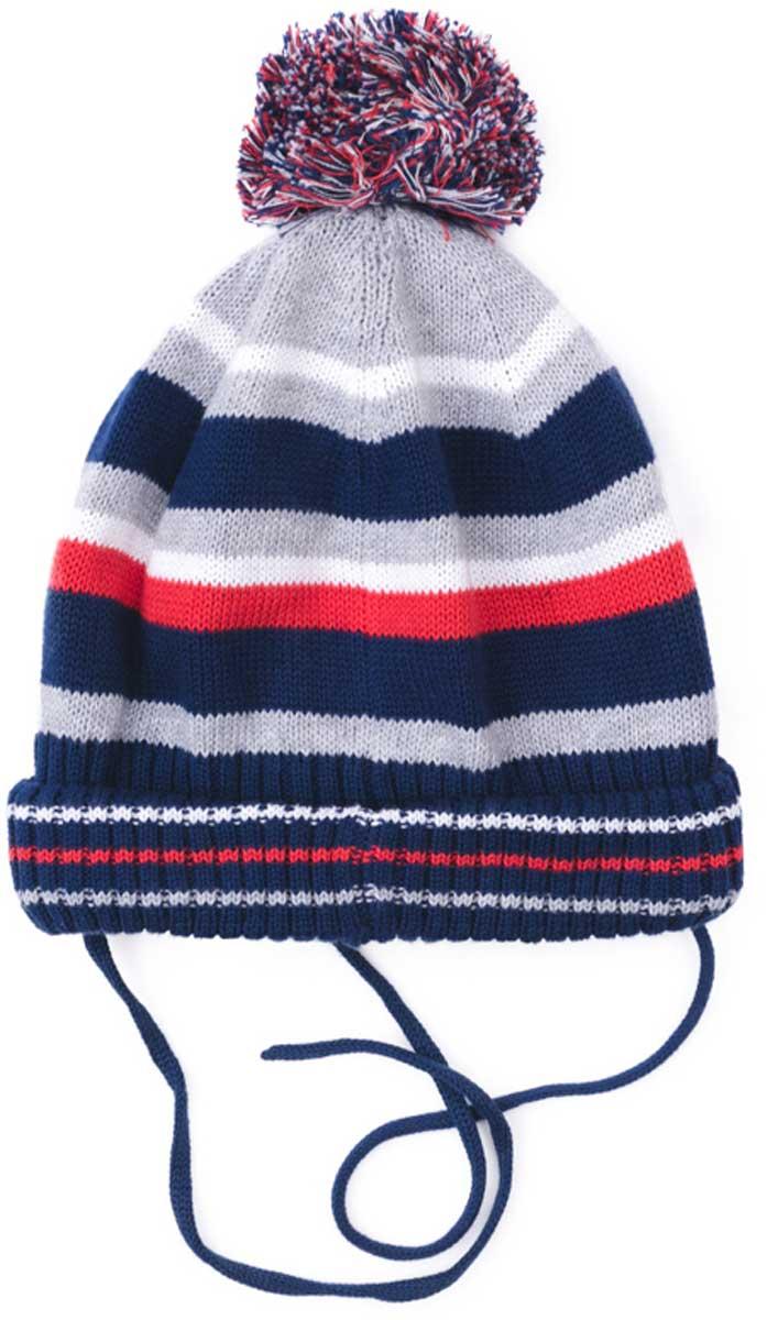 Шапка детская171080Яркая стильная шапка PlayToday на завязках связана методом yarn dyed - в процессе производства в полотне используются разного цвета нити. Тем самым изделие, при рекомендуемом уходе, не линяет и надолго остается в прежнем виде, это определенный знак качества. Стильный помпон является эффектным дополнением к шапке. Уважаемые клиенты! Размер, доступный для заказа, является обхватом головы.