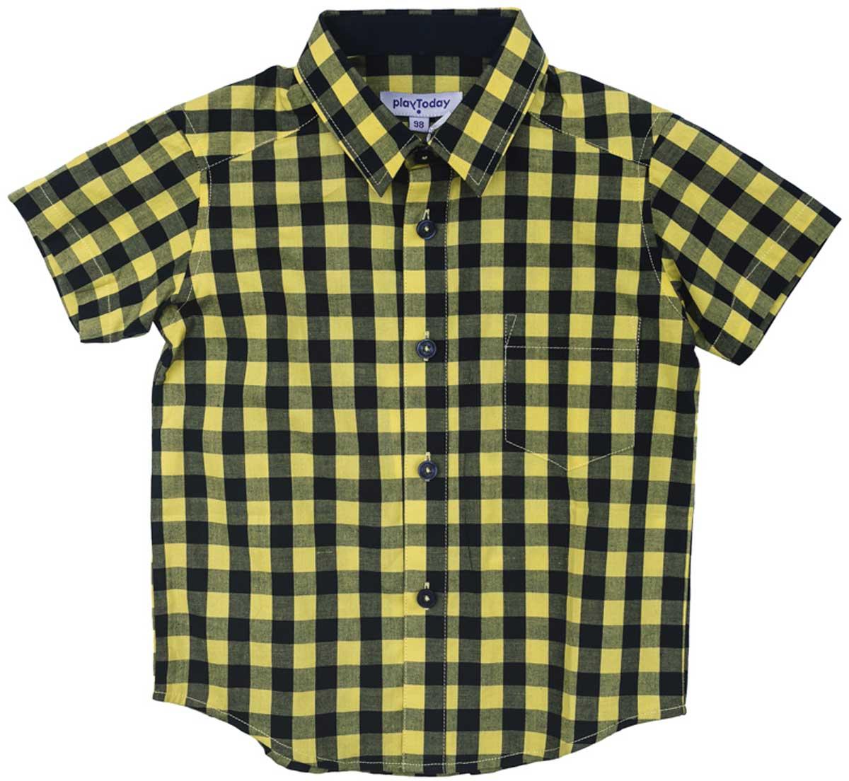 171104Эффектная сорочка с коротким рукавом для мальчика в стиле кантри. Практична и очень удобна для повседневной носки. Ткань мягкая и приятная на ощупь, не раздражает нежную детскую кожу. Стиль отвечает всем последним тенденциям детской моды. Рубашка с отложным воротничком и накладным карманом. Даже в самой активной игре Ваш ребенок будет всегда иметь аккуратный вид.Преимущества:Качественная тонкая ткань не раздражает нежную кожу ребенкаМодель с отложным воротником и накладным карманом