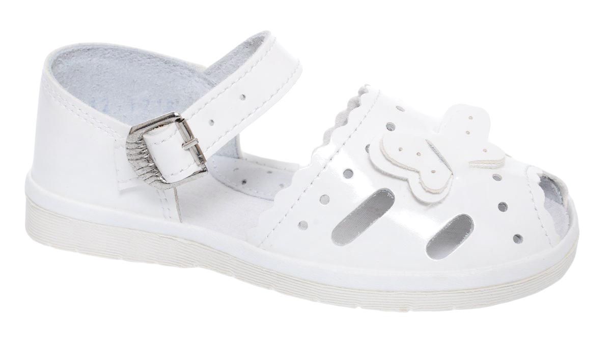СандалииЛак 2324 пряжкаСандалии для девочки Римал выполнены из качественной искусственной кожи. Хлястик с металлической пряжкой обеспечит оптимальную посадку модели на ноге. Кожаная стелька с супинатором придаст максимальный комфорт при движении. На носке сандалии оформлены декоративным элементом в виде бабочки.