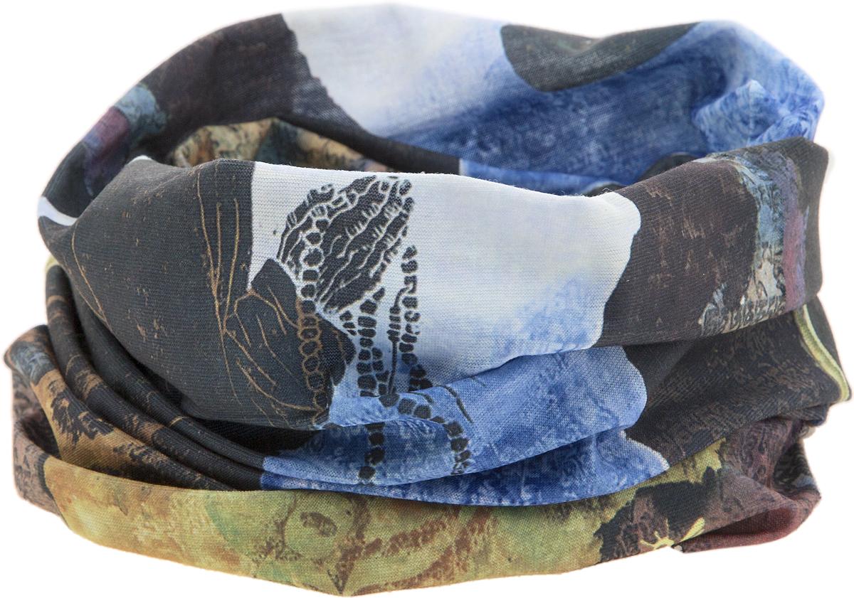 Шарф17-53Мультишарфы можно встретить под разными названиями: мультишарф, мультибандана, платок трансформер, Baff, но вне зависимости от того, как Вы назовете этот аксессуар, его уникальные возможности останутся неизменными. Вы с легкостью и удобством можете одеть этот мультишарф на голову и шею 12 различными способами. В сильные морозы, пронизывающий ветер или пыльную бурю - с мультишарфом Вы будете готовы к любым капризам природы. Авторская работа.