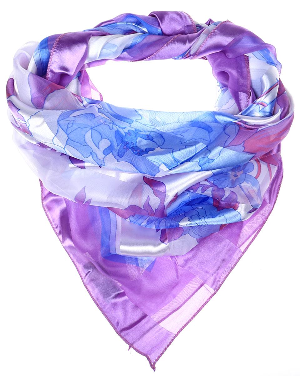 Ro0118-11-1Стильный женский платок Vittorio Richi изготовлен из высококачественного полиэстера с добавлением шелка. Платок оформлен эффектом деворе полоса и оригинальным цветочным принтом. Отделка краев - оверлок.