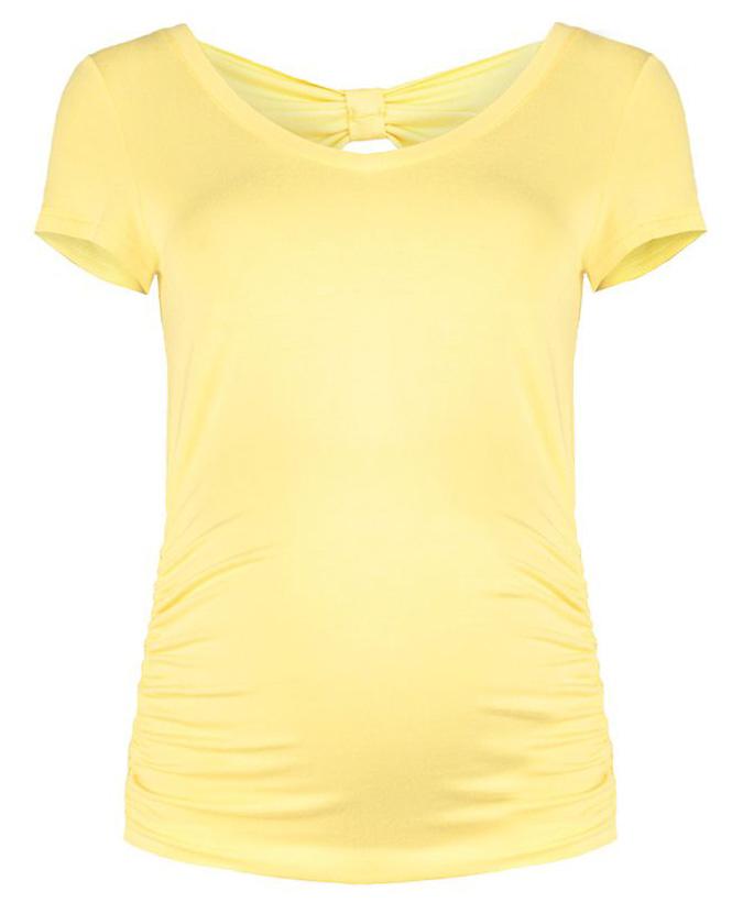 Футболка370811616Элегантная футболка из легкой комфортной ткани с припуском на живот и декоративной отделкой на спинке. Универсальность посадки дает возможность носки до, во время и после беременности.