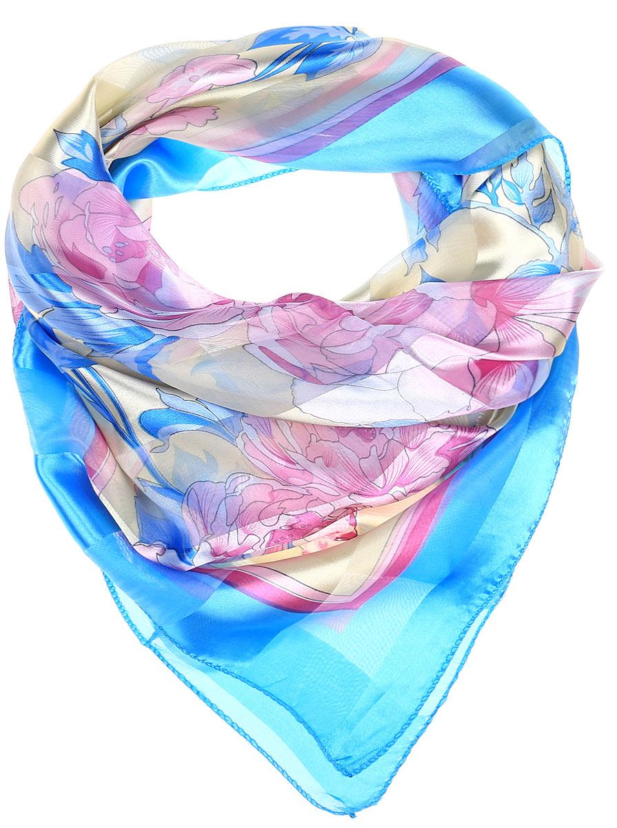 Ro0118-11-1Принтованный платок с эффектом деворе полоса. Обработка кромки - оверлок.