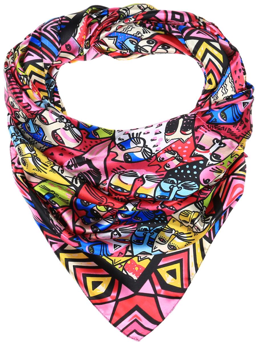ПлатокRo0168-4Стильный женский платок Vittorio Richi изготовлен из высококачественного полиэстера с добавлением шелка. Платок оформлен оригинальным ярким принтом. Обработка краев - подрубка.