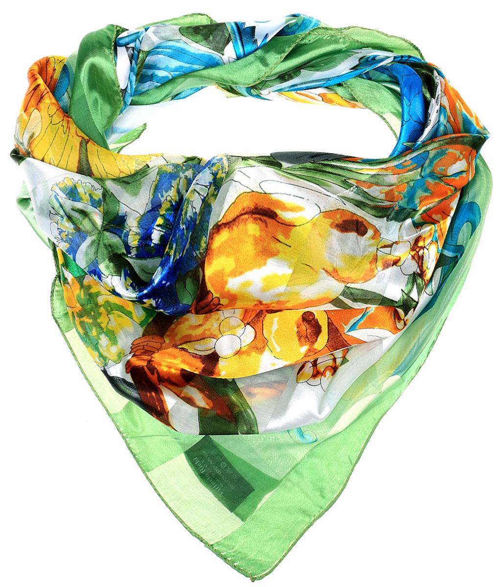 ПлатокRo0118-10-1Стильный женский платок Vittorio Richi изготовлен из высококачественного полиэстера с добавлением шелка. Платок оформлен эффектом деворе полоса и оригинальным цветочным принтом. Отделка краев - оверлок.