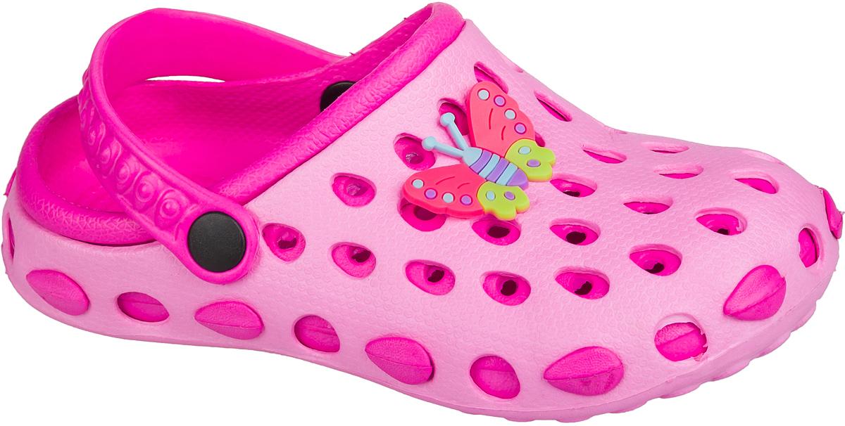Шлепанцы101376Удобные кроксы Mursu незаменимы для пляжного сезона. Легкая модель полностью выполнена из качественного полимерного материала. У кроксов имеется подвижный ремешок с пластиковыми кнопками. Носочная часть оформлена оригинальным декоративным элементом в виде бабочки. Большое количество дырочек в верхней части обуви обеспечивает вентиляцию ноги.