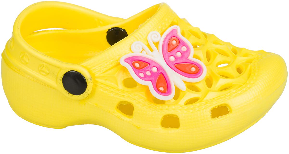 Шлепанцы101384Удобные кроксы Mursu незаменимы для пляжного сезона. Легкая модель полностью выполнена из качественного полимерного материала. У кроксов имеется подвижный ремешок с пластиковыми кнопками. Носочная часть оформлена оригинальным декоративным элементом в виде бабочки. Большое количество дырочек в верхней части обуви обеспечивает вентиляцию ноги.