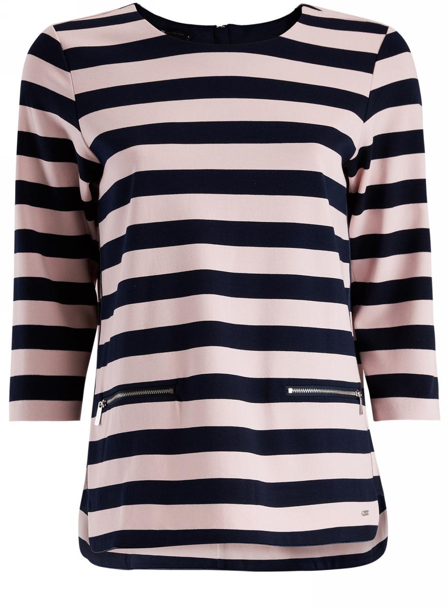 Блузка24200002/45717/2310SФутболка полосатая с рукавом 3/4 и декоративными молниями