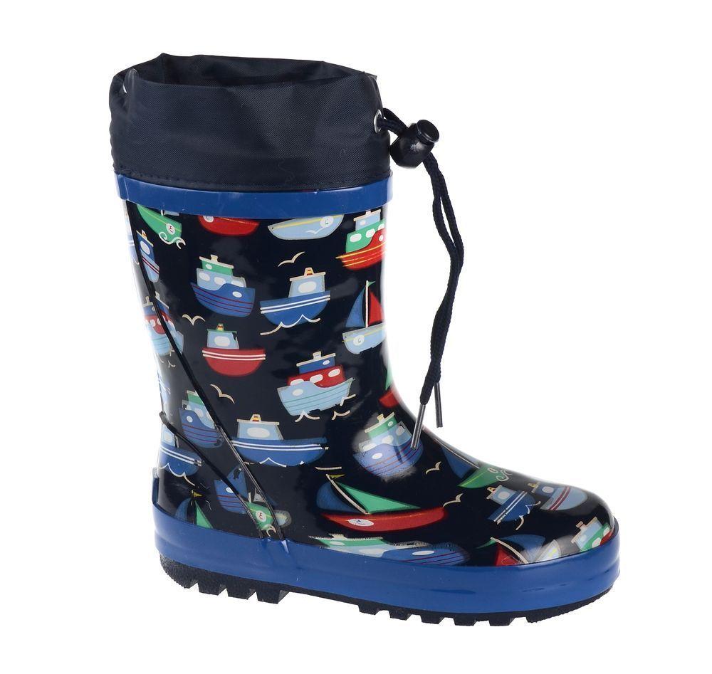 Резиновые сапоги71-HL-0015Утепленные резиновые сапоги от Flamingo - идеальная обувь в холодную дождливую погоду для вашего ребенка. Сапоги, выполненные из качественной резины, оформлены принтом с изображением корабликов. Подкладка и стелька из шерсти не дадут ногам вашего ребенка замерзнуть. Текстильный верх голенища регулируется в объеме за счет шнурка с бегунком. Подошва дополнена протектором.