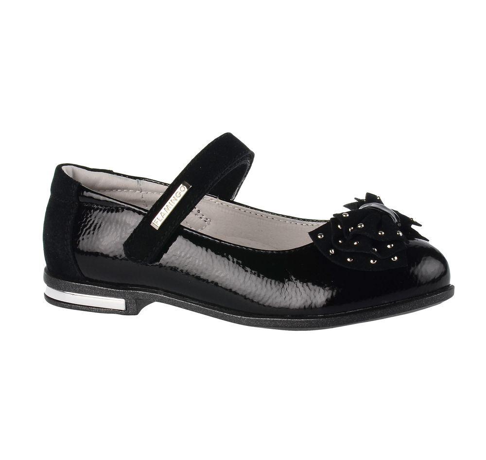 Туфли71T-XY-0097Модные туфли для девочки от Flamingo выполнены из искусственной и натуральной кожи. Мыс модели оформлен декоративным бантиком, украшенным металлическими элементами. Ремешок с застежкой-липучкой надежно зафиксирует модель на ноге. Внутренняя поверхность и стелька из натуральной кожи обеспечат комфорт при движении. Стелька дополнена супинатором, который предотвращает плоскостопие. Подошва и невысокий каблук дополнены рифлением.