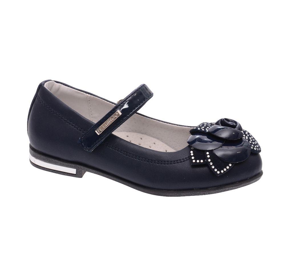 ТуфлиW6XY102Модные туфли для девочки от Flamingo выполнены из искусственной кожи. Мыс модели оформлен декоративным цветком, украшенным стразами. Лакированный ремешок с застежкой-липучкой надежно зафиксирует модель на ноге. Внутренняя поверхность и стелька из натуральной кожи обеспечат комфорт при движении. Стелька дополнена супинатором, который предотвращает плоскостопие. Подошва и невысокий каблук дополнены рифлением.