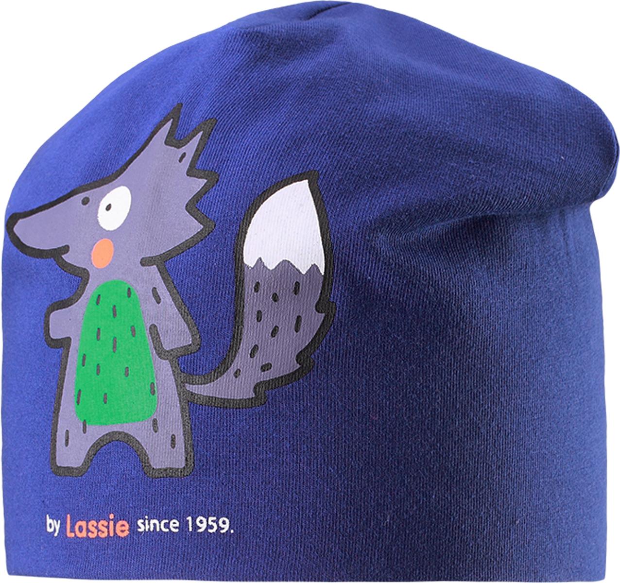 Шапка детская7187173400Базовая шапка для малышей с забавным рисунком в лисички. Шапка сделана из легкого и удобного джерси на полной трикотажной подкладке из гладкого дышащего смесового хлопка. Она снабжена рисунком сбоку и светоотражающей эмблемой на заднем шве.
