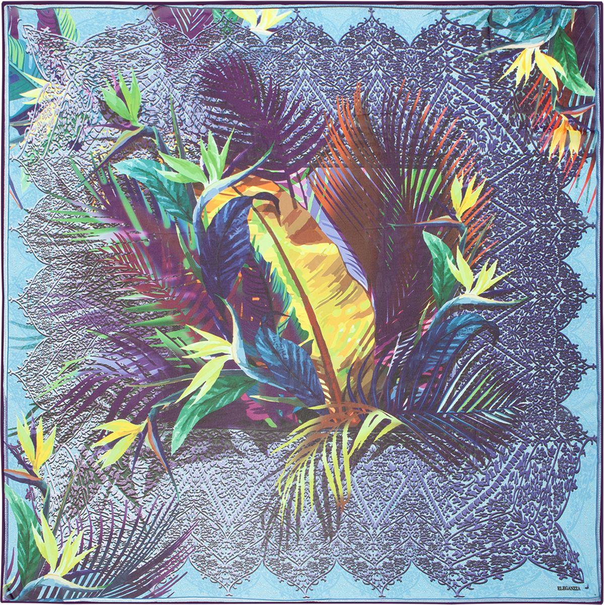 ПлатокD02-1198Платок торговой марки ELEGANZZA. Состав: 100% шелк, жоржет. Тип подгибки: ручная подгибка. Размер: 110х110 см.