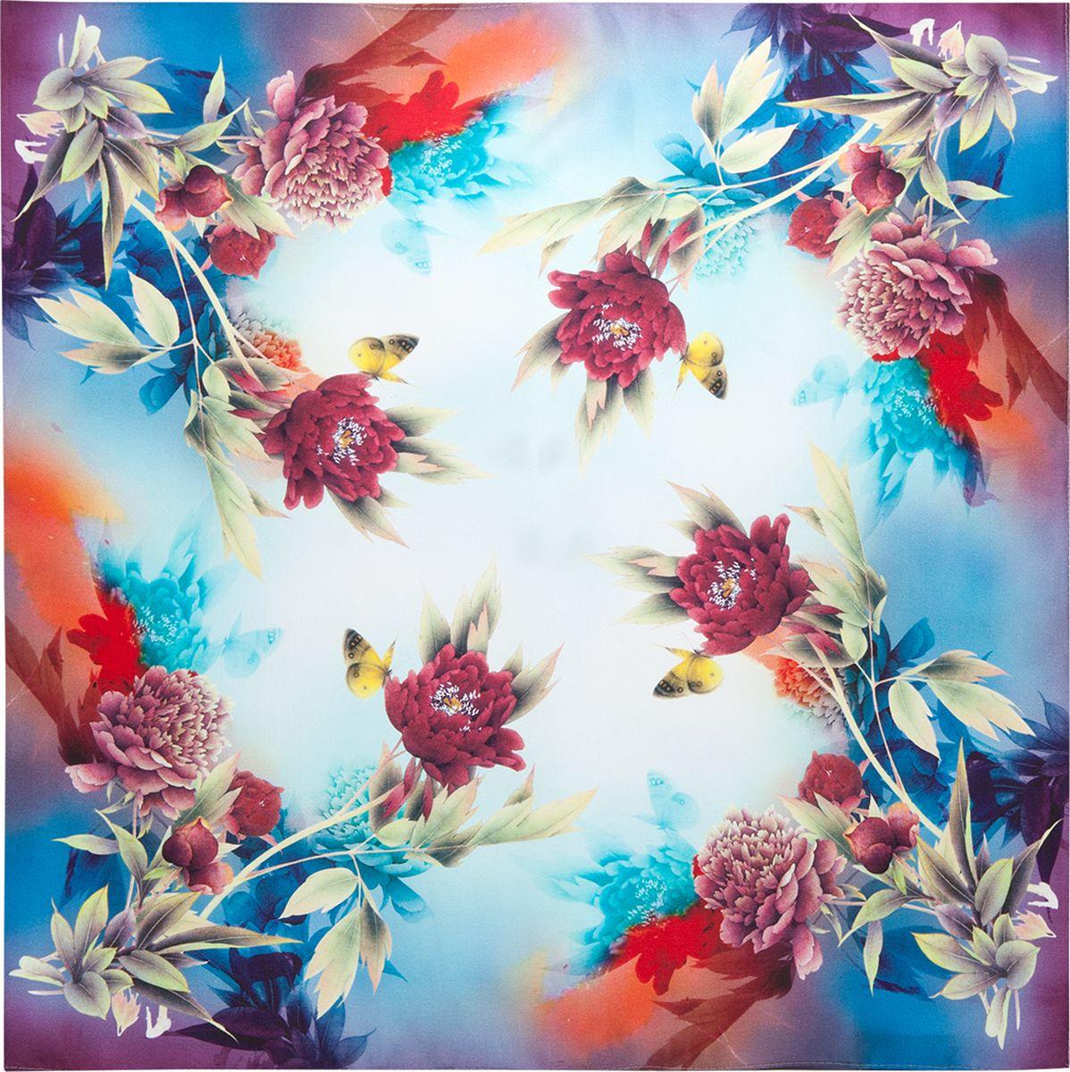 ПлатокSS03-7870Платок Eleganzza, выполненный из шелка, внесет яркий акцент в романтический образ. Модель оформлена цветочным принтом. Классическая квадратная форма позволяет носить платок на шее, украшать им прическу или декорировать сумочку.