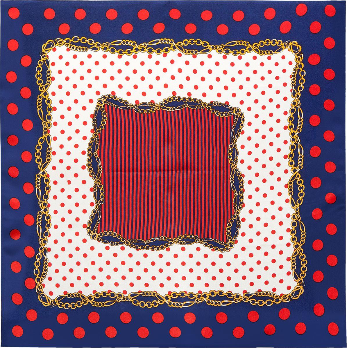 ПлатокSS03-7878Платок Eleganzza выполнен из шелка. Модель оформлена контрастным принтом. Классическая квадратная форма позволяет носить платок на шее, украшать им прическу или декорировать сумочку.