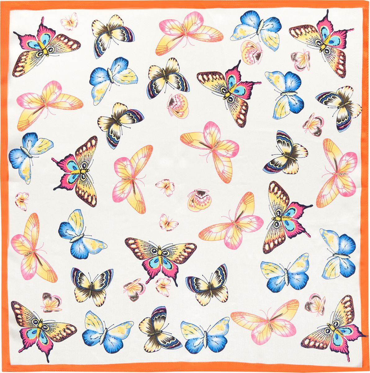 ПлатокSS03-7879Платок Eleganzza изготовлен из шелка. Модель оформлена принтом с изображением бабочек. Использование такого стильного аксессуара позволит создать несколько образов и настроений.