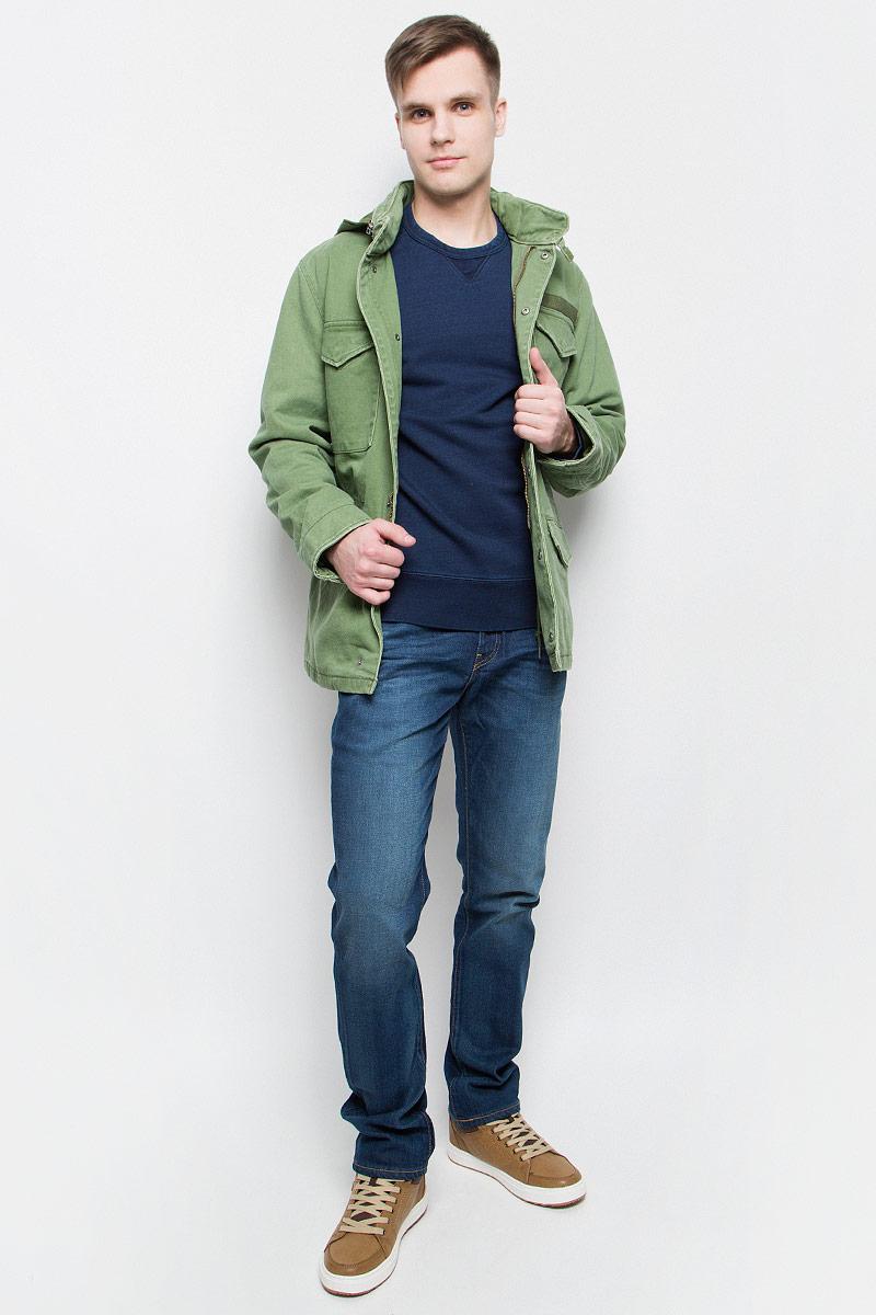 Куртка2965800010Куртка Levis выполнена из натурального хлопка. Модель с воротником-стойкой и длинным рукавом застегивается с помощью молнии и кнопок. На воротнике расположено отделение на молнии с капюшоном и хлястик с застежками-липучками. Куртка оснащена четырьмя карманами, закрывающимися клапанами на кнопки. Подкладка выполнена из полиэстера и хлопка. Внутри модель дополнена шнурком на поясе и накладным карманом с клапаном и кнопкой.