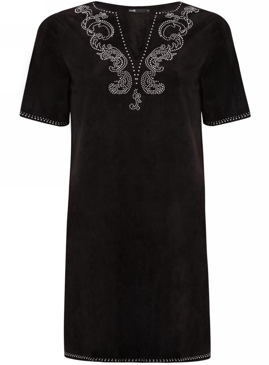 Платье18L01001/45622/2900NПлатье из искусственной замши с декором из металлических страз