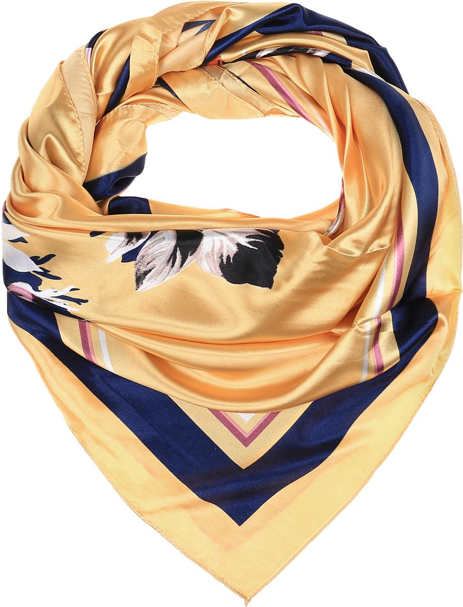 ПлатокRo01HS1602-8-1Стильный женский платок Vittorio Richi изготовлен из высококачественного полиэстера с добавлением шелка. Платок оформлен оригинальным цветочным принтом. Обработка краев - подрубка.