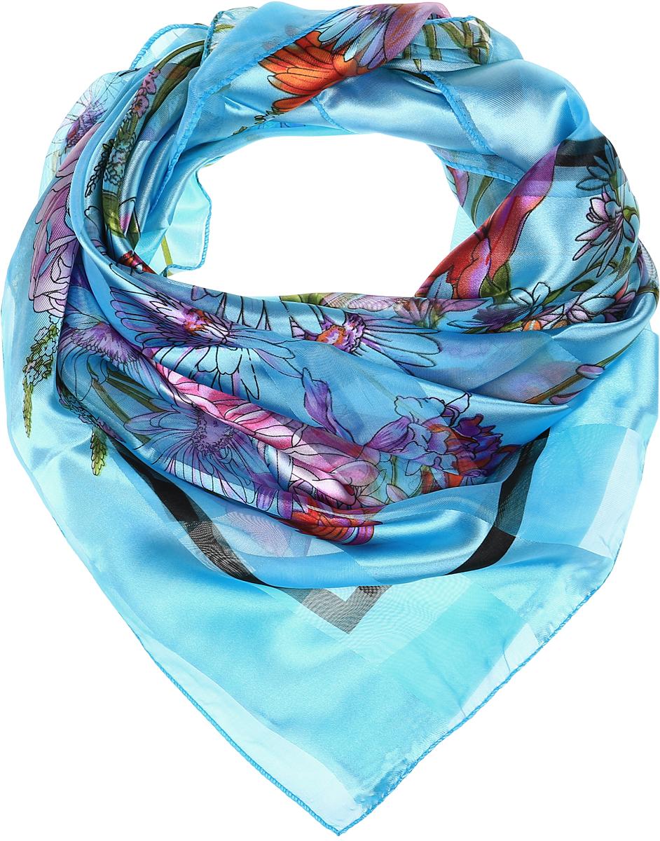 Ro0118-4-1Принтованный платок с эффектом деворе полоса. Обработка кромки - оверлок.