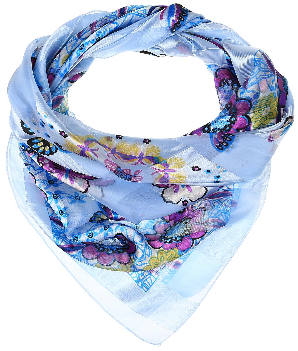 Ro0118-3-3Стильный женский платок Vittorio Richi изготовлен из высококачественного полиэстера с добавлением шелка. Платок оформлен эффектом деворе полоса и оригинальным принтом с бабочками. Отделка краев - оверлок.