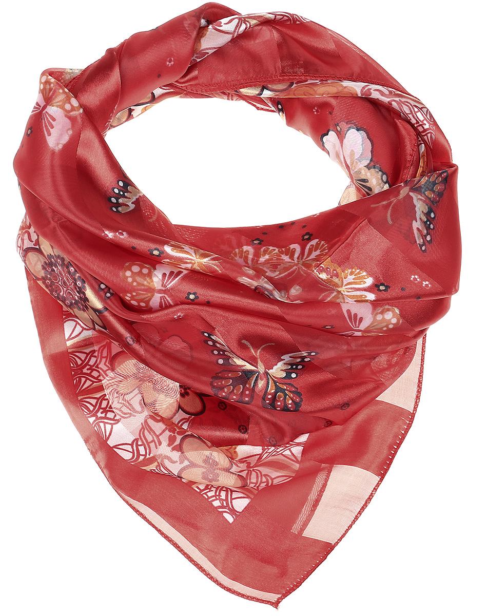 ПлатокRo0118-3-3Стильный женский платок Vittorio Richi изготовлен из высококачественного полиэстера с добавлением шелка. Платок оформлен эффектом деворе полоса и оригинальным принтом с бабочками. Отделка краев - оверлок.