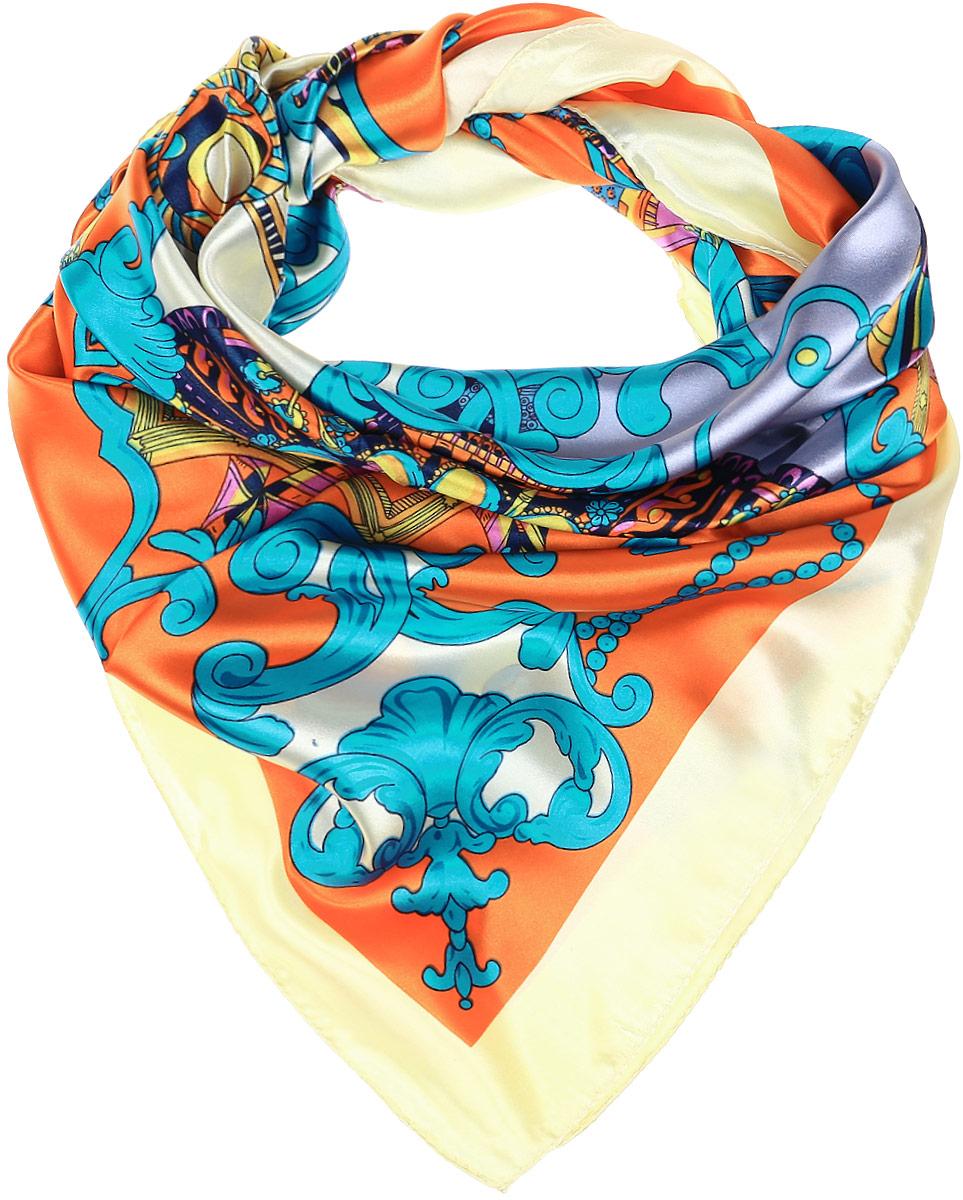 ПлатокRo01HS1602-9-1Стильный женский платок Vittorio Richi изготовлен из высококачественного полиэстера с добавлением шелка. Платок оформлен оригинальным цветочным принтом. Обработка краев - подрубка.