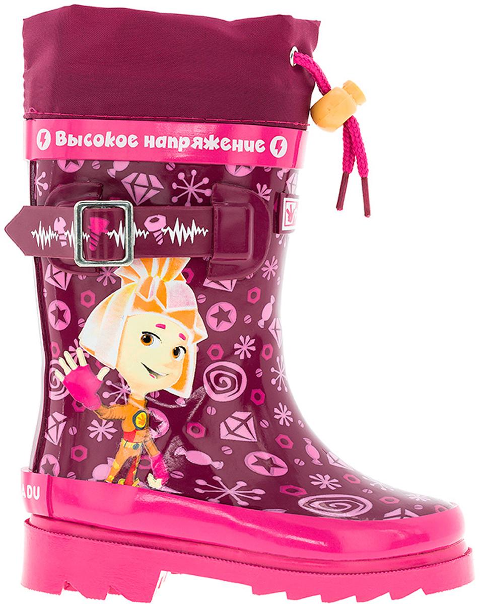 Резиновые сапоги6686AAМодные резиновые сапоги от Kakadu - идеальная обувь в дождливую погоду для вашей девочки. Модель оформлена красочным принтом с изображением персонажей мультсериала Фиксики, дополнена текстильной манжетой на кулиске для регулировки объема голенища, а также декоративным ремешком. Внутренняя поверхность и стелька из текстиля и байки способствуют поддержанию тепла и комфортны при ходьбе. Подошва с протектором гарантирует отличное сцепление с любой поверхностью. Резиновые сапоги - необходимая вещь в гардеробе каждого ребенка.