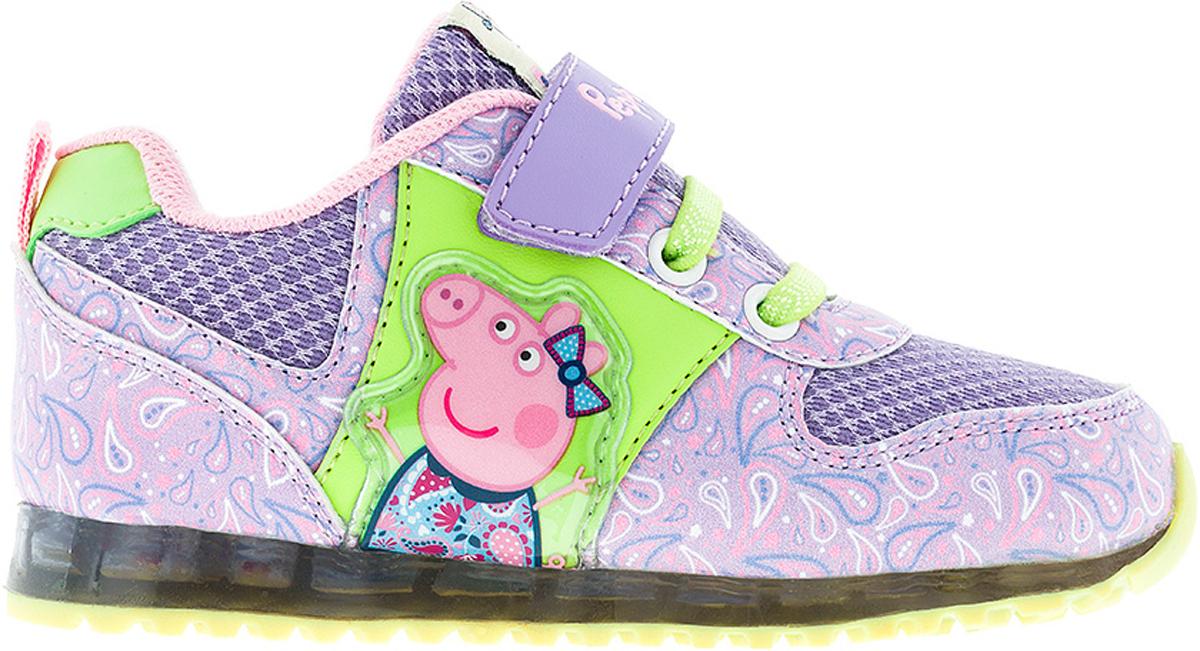 Кроссовки6775CСтильные кроссовки Peppa Pig от Kakadu - отличный выбор для вашей малышки на каждый день. Верх модели выполнен из синтетической кожи и текстиля. Кроссовки оформлены красочным орнаментом и нашивками с изображением Свинки Пеппы. Классическая шнуровка и ремешок на застежке-липучке обеспечивают надежную фиксацию обуви на ноге. Подкладка из текстильного материала создает комфорт при носке. Съемная анатомическая стелька удобна в эксплуатации и позволяет быстро просушивать обувь. Подошва выполнена из амортизирующей термопластичной резины, которая снимает нагрузку с суставов. Рифление на подошве обеспечивает отличное сцепление с любой поверхностью. Модные и комфортные кроссовки - необходимая вещь в гардеробе каждого ребенка.