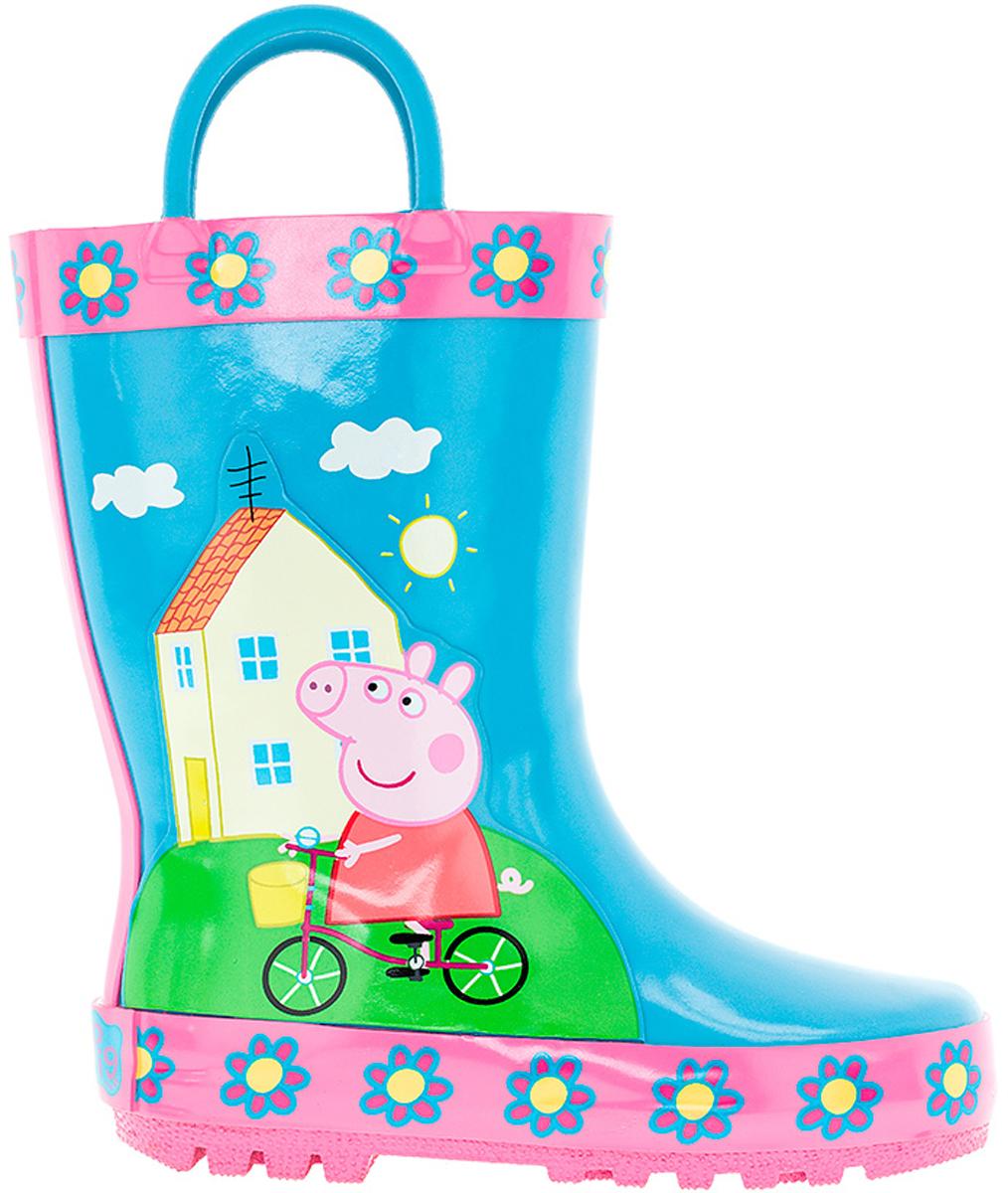 Резиновые сапоги6752BМодные резиновые сапоги от Kakadu - идеальная обувь в дождливую погоду для вашей девочки. Модель оформлена красочным изображением Свинки Пеппы на велосипеде. Для удобства обувания на голенище предусмотрены специальные ручки. Внутренняя поверхность и стелька из хлопка способствуют поддержанию тепла и комфортны при ходьбе. Подошва с протектором гарантирует отличное сцепление с любой поверхностью. Резиновые сапоги - необходимая вещь в гардеробе каждого ребенка