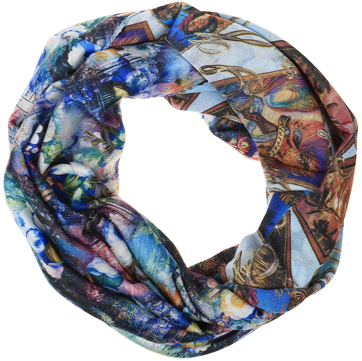 Снуд-хомутRo01R2359-A3757-1Легкий снуд-хомут от Vita Pelle выполнен из двустороннего трикотажного полотна и оформлен цветочным принтом. Кромка обработана оверлоком.