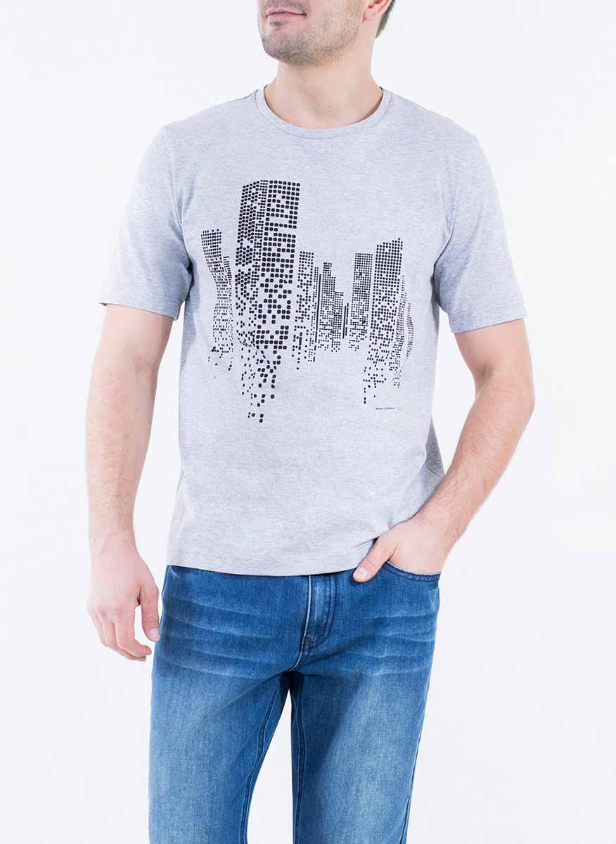 Футболка2-171-20-2320Стильная мужская футболка Greg Horman изготовлена из натурального хлопка. Модель прямого кроя с круглым вырезом горловины и короткими рукавами спереди оформлена оригинальным принтом.