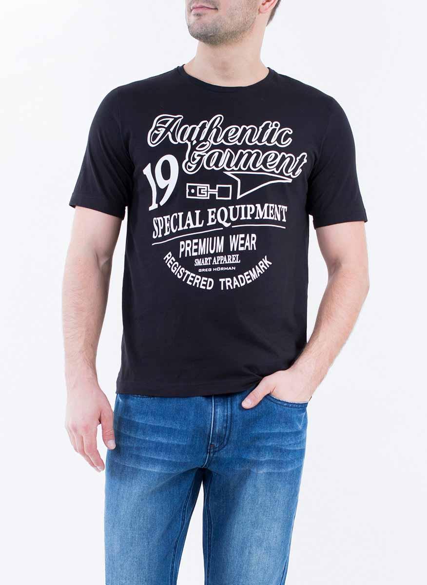 Футболка2-171-20-2319Стильная мужская футболка Greg Horman изготовлена из натурального хлопка. Модель прямого кроя с круглым вырезом горловины и короткими рукавами спереди оформлена оригинальным принтом.
