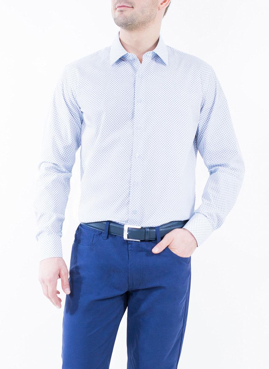 Рубашка2-171-20-1391Мужская рубашка Greg Horman выполнена из хлопка с добавлением полиэстера. Модель полуприталенного силуэта с отложным воротником и длинными рукавами оформлена мелким принтом. Изделие застегивается по всей длине на пуговицы, украшенные символикой бренда. Манжеты рукавов также застегиваются на пуговицы. Удобный крой, выверенный силуэт и безупречное исполнение делает эту рубашку уникальным решением для стильных образов и незаменимым атрибутом мужского гардероба.