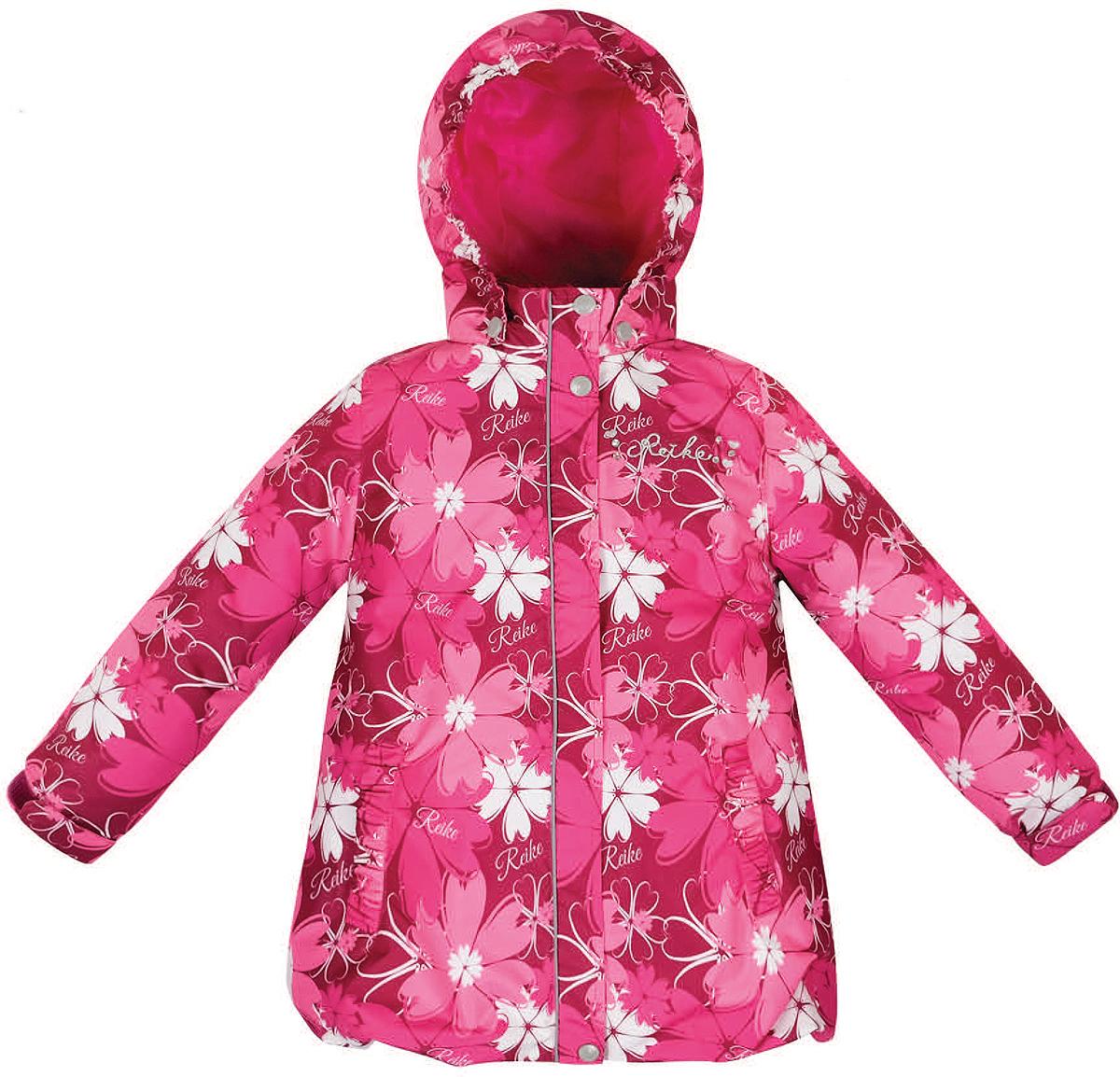 Куртка36 946 003_Cosmei bordeauxСтильная куртка для девочки Reike Космея выполнена из ветрозащитного, водоотталкивающего и дышащего материала с подкладкой из микрофлиса, обеспечивающей дополнительный комфорт. Модель с воротником-стойкой, защищающим от ветра, застегивается на молнию с ветрозащитной планкой на кнопках и оформлена цветочным принтом в стиле серии. Манжеты рукавов на резинке дополнительно регулируются с помощью липучек. Модель дополнена съемным капюшоном, утянутым резинкой, двумя прорезными карманами, утяжкой по низу изделия и светоотражающими элементами. На груди куртка декорирована серебристой вышивкой и стразами. Особенности изделия: - базовый уровень; - коэффициент воздухопроницаемости: 2000гр/м2/24 ч; - водоотталкивающее покрытие: 2000 мм.