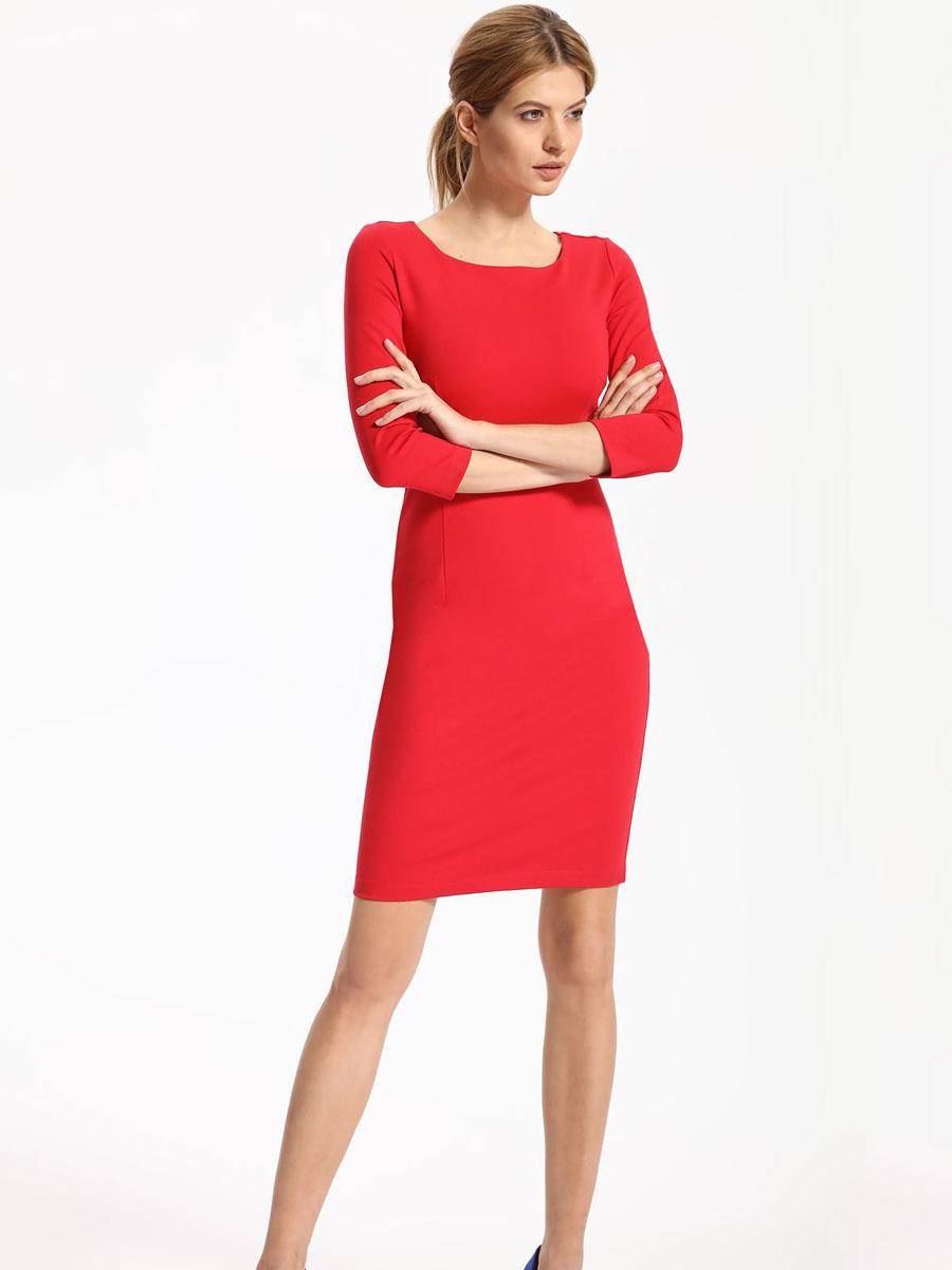 ПлатьеSSU1780CEПлатье Top Secret выполнено из вискозы, полиамида и эластана. Модель с круглым вырезом горловины и рукавами 3/4 сзади застегивается на застежку-молнию.