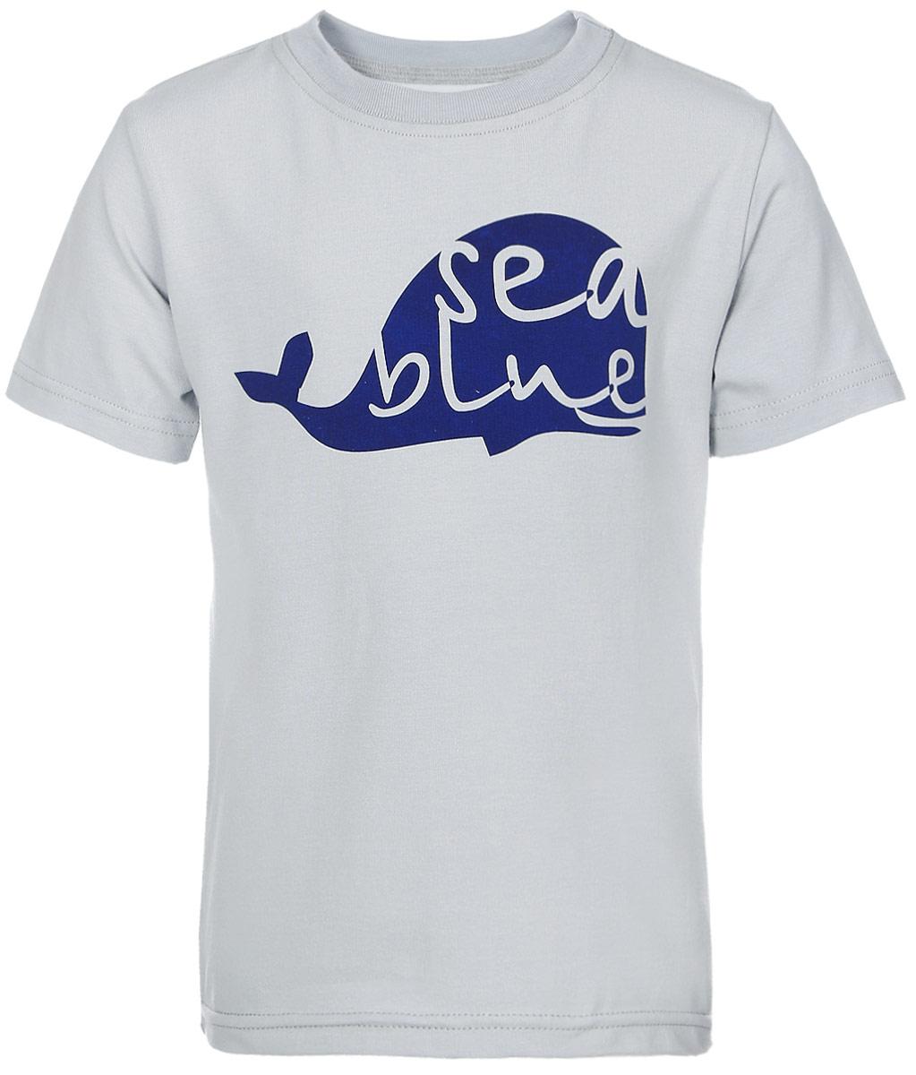 Футболка14844Футболка для мальчика КотМарКот Киты изготовлена из высококачественного эластичного хлопка. Модель с короткими рукавами и круглым вырезом горловины украшена ярким контрастным принтом с изображением силуэта кита.