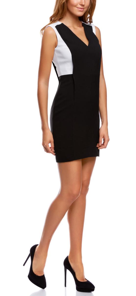 Платье11900226/43859/2910BСтильное платье oodji Ultra, выгодно подчеркивающее достоинства фигуры, - отличный вариант для работы и неофициальных мероприятий. Модель мини-длины выполнена из плотной ткани с контрастными вставками, создающими эффект 2 в 1. Платье с открытыми плечами и глубоким V-образным вырезом горловины застегивается на скрытую застежку-молнию по спинке.