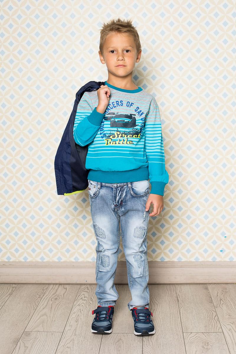 Джинсы713082Стильные вареные джинсы для мальчика Sweet Berry выполнены из натурального хлопка с эффектом потертости и разрывов. Джинсы зауженного кроя и стандартной посадки на талии застегиваются на пуговицу и имеют ширинку на застежке-молнии. Модель дополнена двумя втачными карманами спереди и тремя накладными карманами сзади. На поясе имеются шлевки для ремня. С внутренней стороны пояс дополнен вшитыми эластичными лентами, регулирующими посадку по талии.