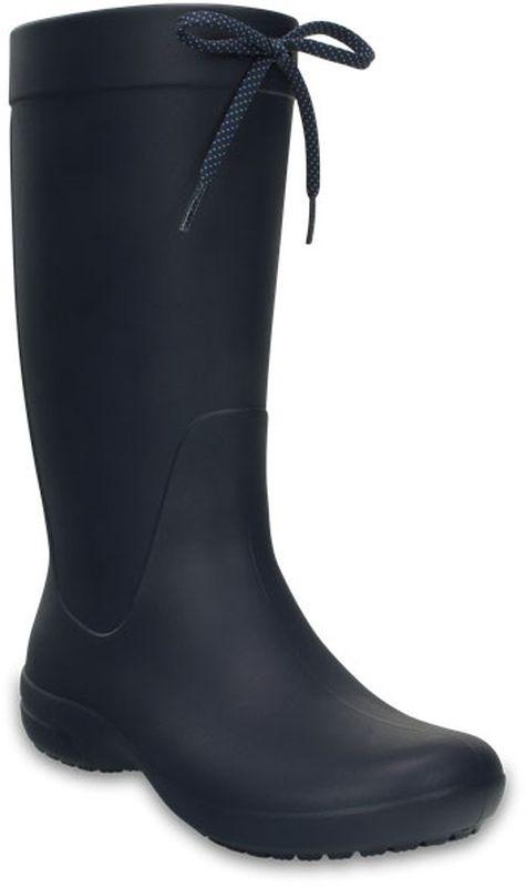 Резиновые сапоги203541-7C1Резиновые сапоги Crocs Crocs Freesail Rain Boot выполнены из высококачественного полимера и оформлены декоративным шнурком. Внутренняя поверхность выполнена из полимера. Стелька выполнена из легкого ЭВА-материала с поверхностью из текстиля. Подошва изготовлена из полимера и дополнена рельефным рисунком.