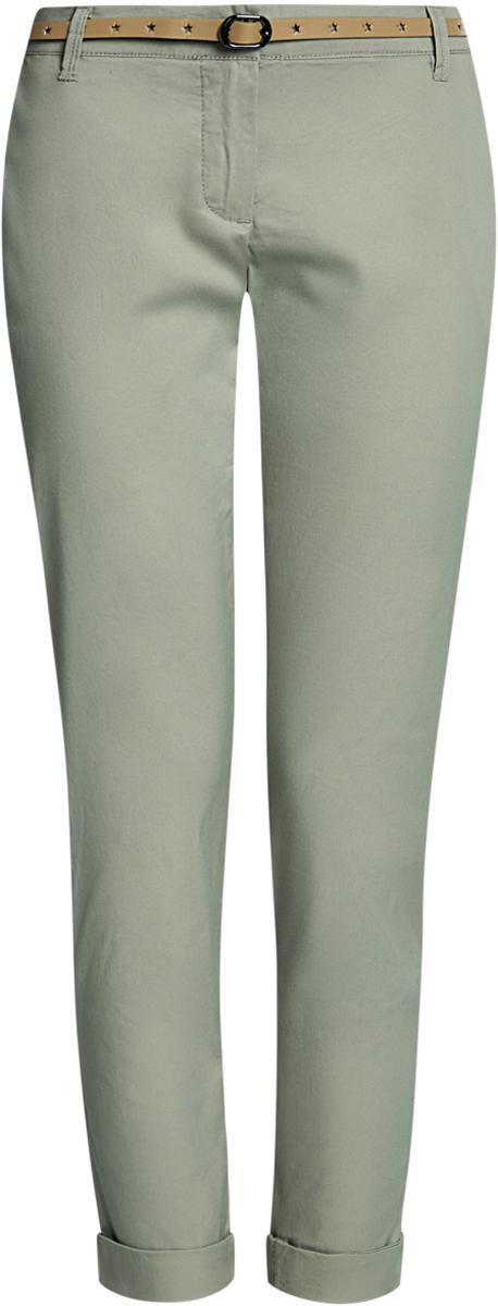 Брюки11706190-3B/32887/2500NЖенские брюки oodji Ultra выполнены из высококачественного материала. Модель-чинос стандартной посадки застегивается на пуговицу в поясе и ширинку на застежке-молнии. Пояс имеет шлевки для ремня. Спереди брюки дополнены втачными карманами, сзади - прорезными. К брюкам прилагается ремешок.