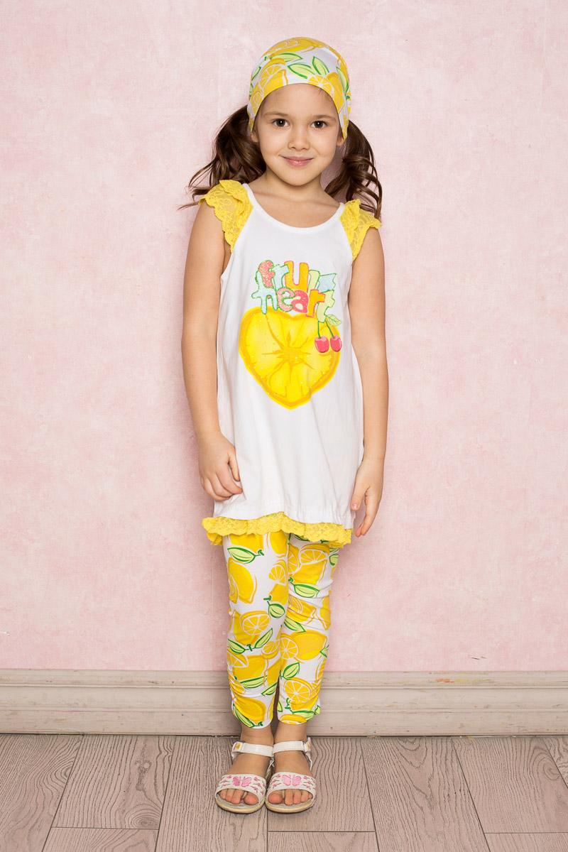 Комплект одежды714160Яркий комплект для девочки Sweet Berry, изготовленный из качественного эластичного хлопка, состоит из туники и лосин. Туника А-силуэта оформлена оригинальным принтом, рукава-крылышки и низ изделия декорированы нежным кружевом. Воротник дополнен мягкой эластичной бейкой. Укороченные лосины оформлены фруктовым принтом и имеют пояс на мягкой эластичной резинке. Низ брючин присборен на резинку в боковом шве.