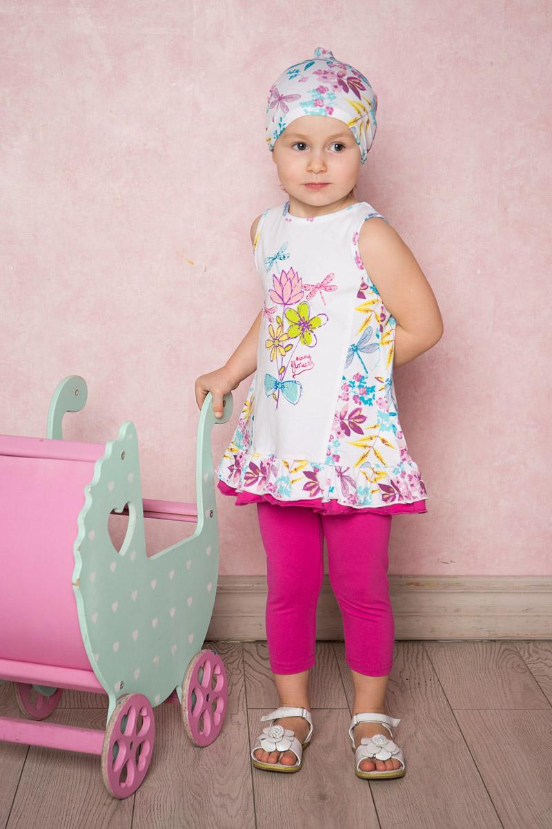 Комплект одежды712015Яркий комплект для девочки Sweet Berry, изготовленный из качественного эластичного хлопка, состоит из платья и лосин. Платье-туника А-силуэта оформлено цветочным принтом и воланами по низу. Воротник и проймы рукавов дополнены мягкой эластичной бейкой. Укороченные лосины имеют пояс на мягкой эластичной резинке.