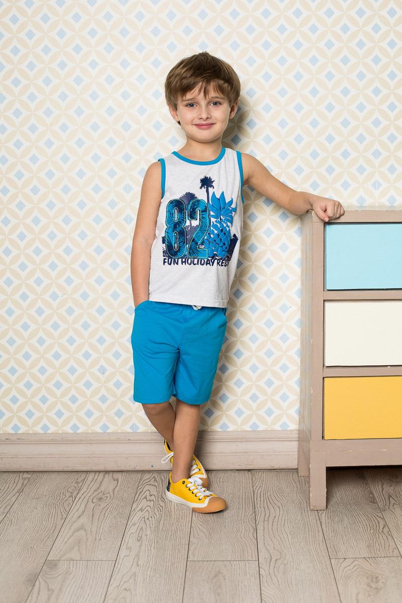 Комплект одежды713045Стильный комплект для мальчика Sweet Berry, изготовленный из качественного эластичного хлопка, состоит из майки и шорт. Майка декорирована оригинальным принтом и контрастными эластичными бейками по горловине и проймам. Удобные шорты прямого кроя имеют пояс на мягкой резинке, дополнительно регулируемый шнурком.