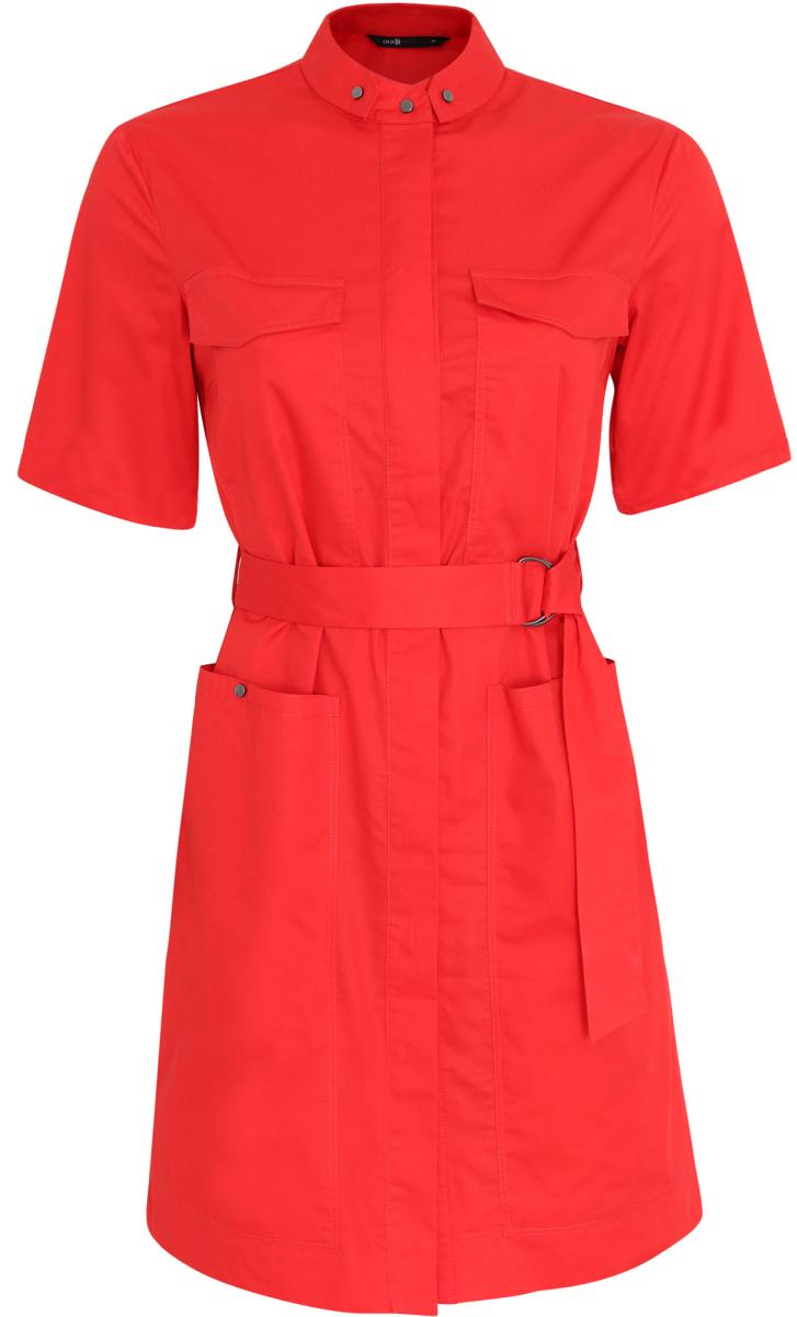 Платье11909002/33113/4500NОригинальное платье-рубашка oodji Ultra выполнено из натурального хлопка. Модель мини-длины с воротничком-стойкой и короткими рукавами застегивается на груди на кнопки, скрытые планкой. Изделие дополнено двумя накладными карманами с клапанами на груди и двумя накладными карманами на кнопках на подоле. В комплект с платьем входит текстильный пояс металлическими кольцами.